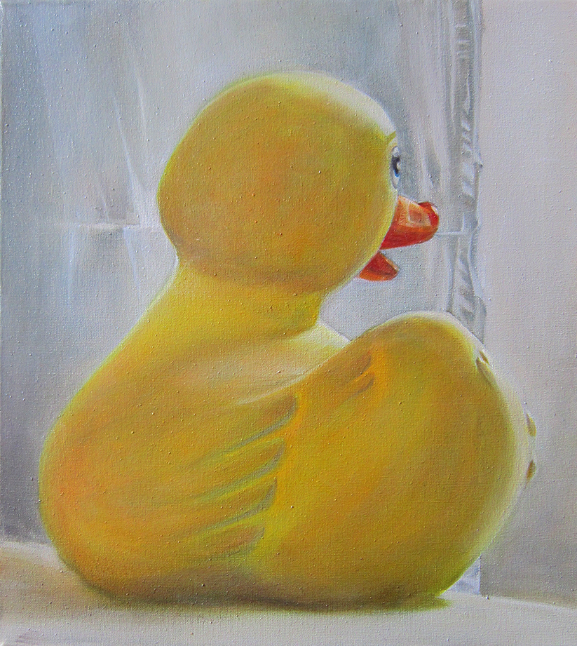 Rubber Duck portrait by a window 60x54 oil on canvas 2015 small