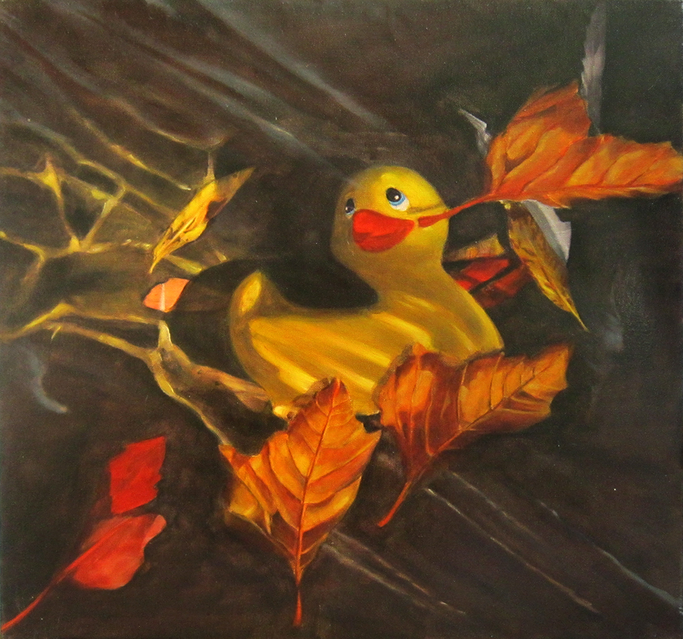 Rubber duck after Ophelia 56x52 oil on canvas 2015 small