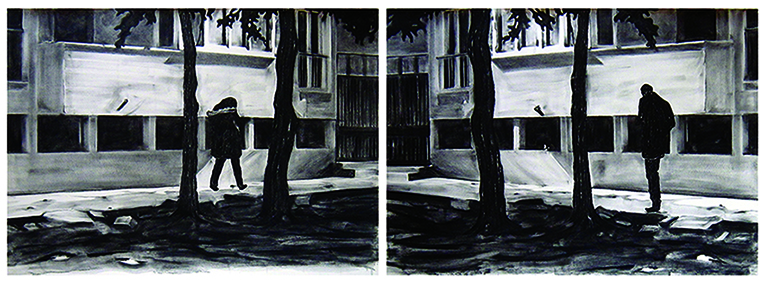 Where are you diptych 72x204 charcoal on paper 2015